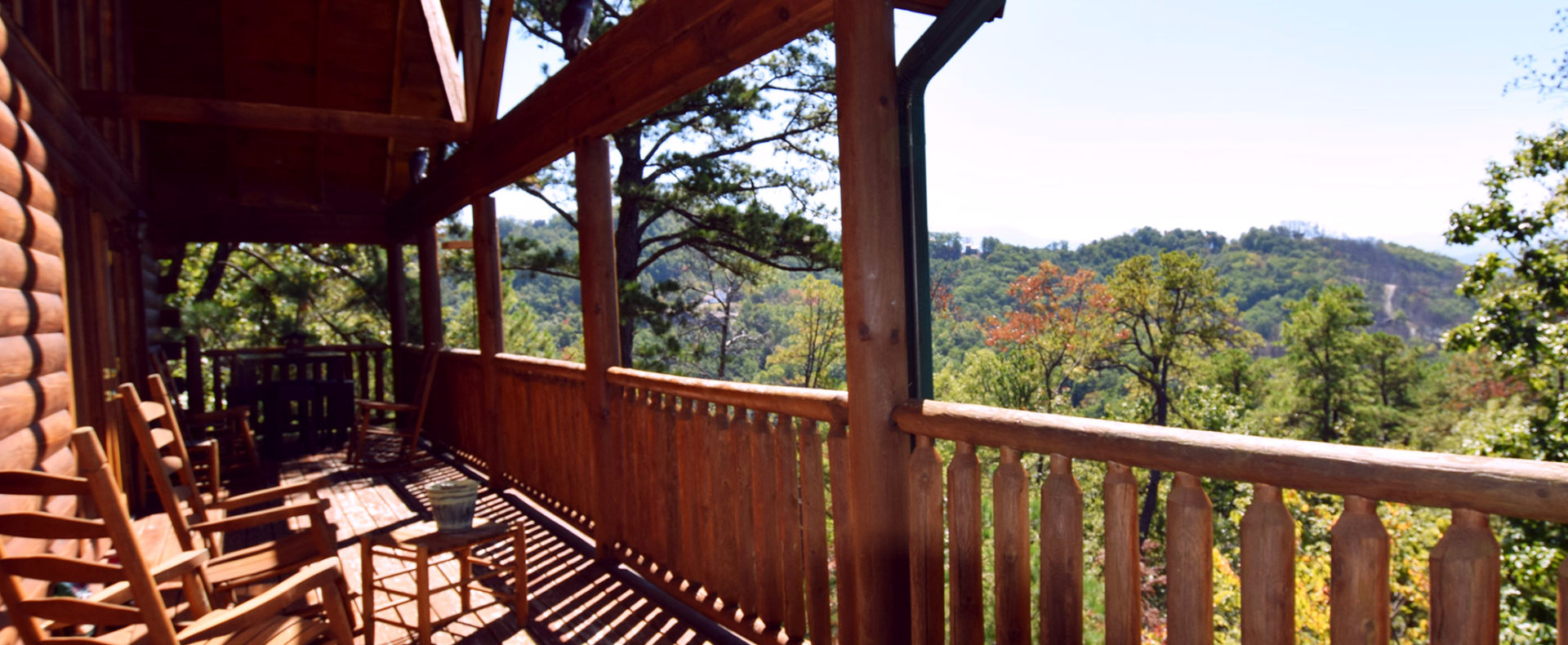 Upper porch with rockers, Shaconage - Arbors Vacation rentals Cabin. Pigeon Forge